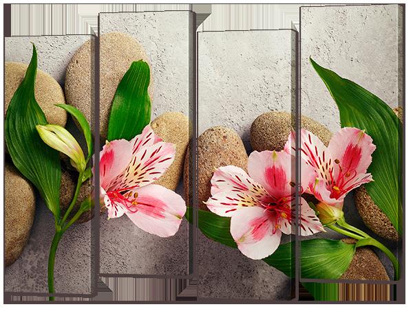 """Модульная картина """"Камни и цветы"""""""