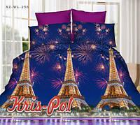 """Постельный комплект 2х спальный евро """"Ночь в Париже""""."""