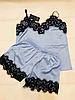 Женская атласная пижама Exclusive голубая