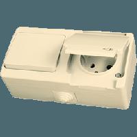 Блок розетка с заземлением и выключатель одинарный с подсветкой крем Gunsan NEMLIYER влагозащищенный