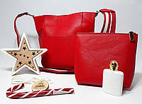Женский новомодный набор сумок 2 в 1, красного цвета