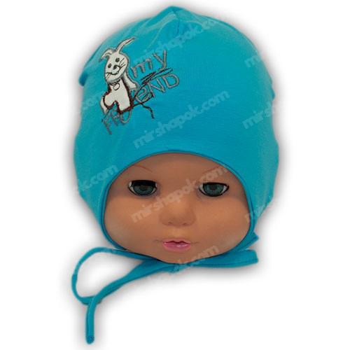 детская трикотажная шапочка на завязках