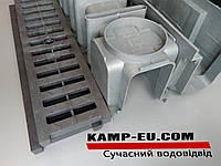 Линейный водоотвод с черной АБС решеткой 1000мм 150\АБС, фото 1