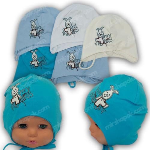 Детская трикотажная шапочка на завязках, р. 40-42