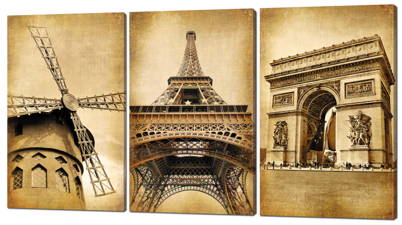 Модульная картина в винтажном стиле Эйфелева башня. Париж