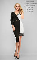 Оригинальное черно-белое платье с кружевом выполнено в стиле комбинации двух изделий