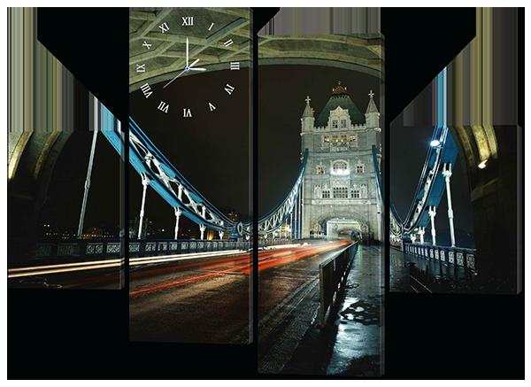 Модульная картина с часами Ночной мост