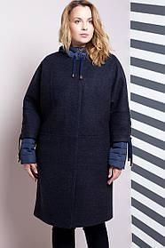 Женская модная куртка-пальто двойка 624 / размер 54,56,60,62 / большие размеры / цвет синий