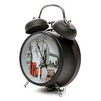 Будильник часы настольный кварцевый с подсветкой Черный