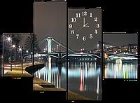 Модульная картина с часами Ночной город. Набережная
