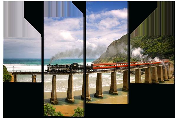 Модульная картина Железная дорога вдоль моря 166*114 см