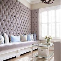 Мягкая стеновая панельКапитоне (Capitonne) с каретной стяжкой, выбор стиля, размера, цвета и материала
