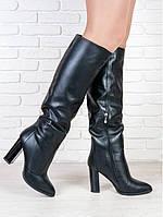 Элегантные кожаные сапоги на высоком каблуке. АРТ-5177-28.3