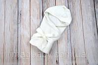 Вязанный конверт- плед с кисточкой, молочный, фото 1