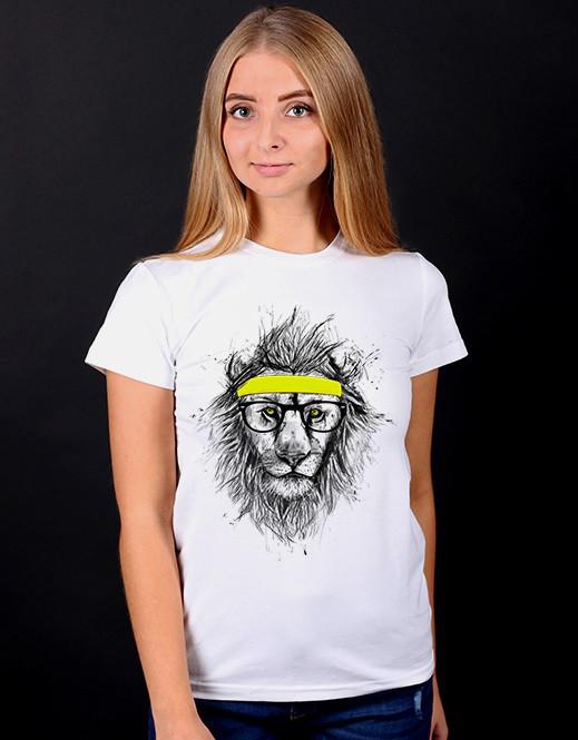 """Белая футболка женская с принтом """"Лев"""" спортивная хлопковая стильная летняя"""