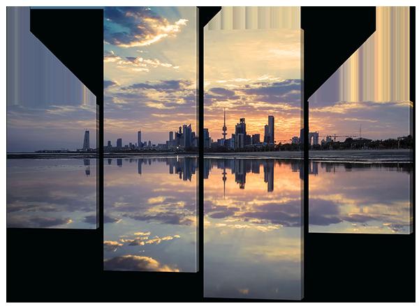 Модульная картина Город.Облака