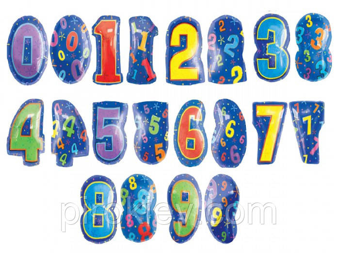 Фольгированные цифры мульти размер 46 см.
