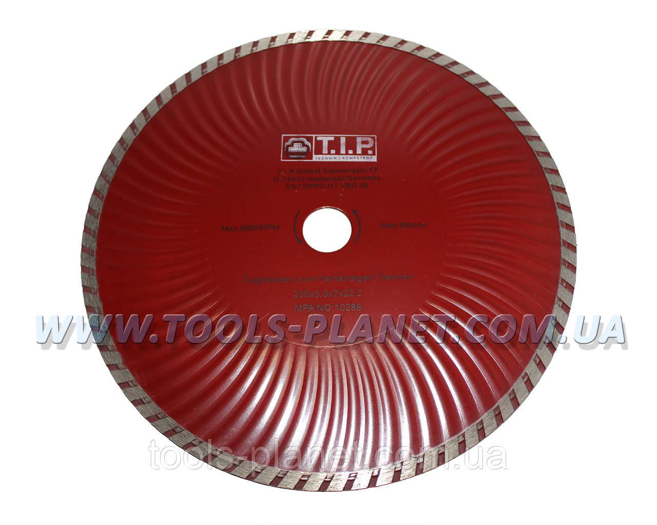 Алмазный диск T.I.P. 230 х 7 х 22,23 Турбоволна, фото 1
