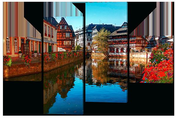 Модульная картина река во Франции. Страсбург