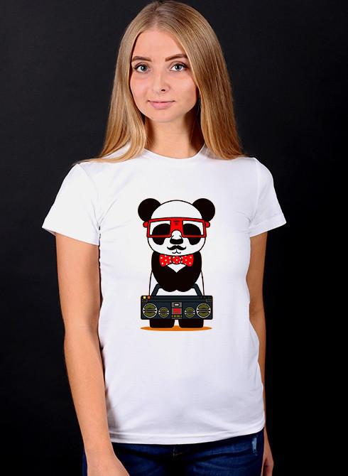 """Белая футболка женская с принтом """"Панда"""" спортивная хлопковая стильная летняя"""