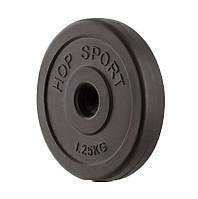 Блин диск для штанги или гантелей 1,25 кг битумный