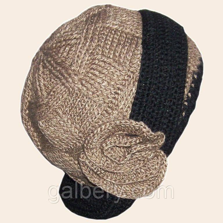 Женская вязаная шляпка - трансформер на подкладке с цветком
