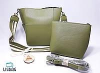 Женский новомодный набор сумок 2 в 1, оливкового цвета