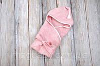 Вязанный конверт- плед с кисточкой, розовый