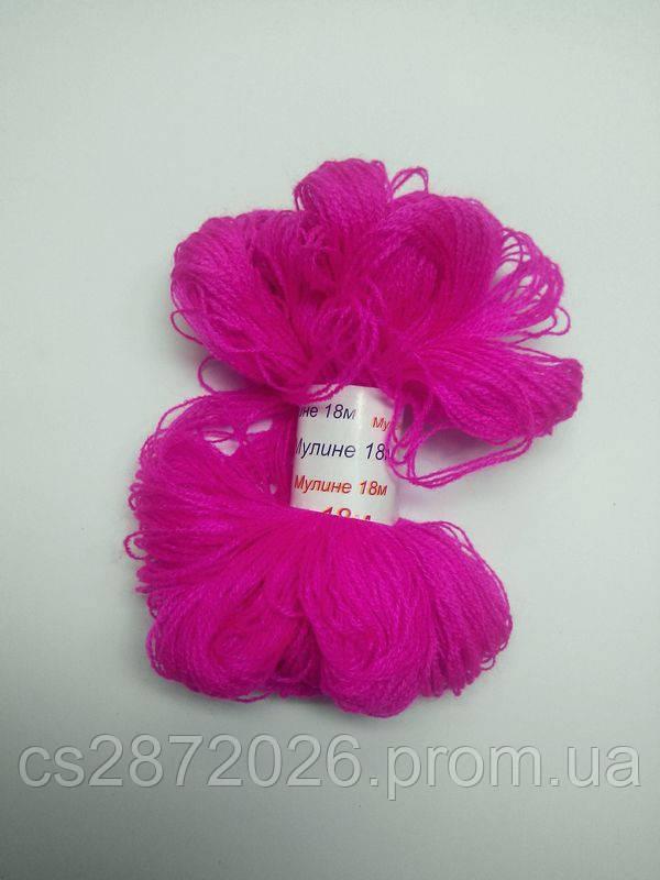 Нитки мулине акрил ярко-розовый