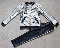 Костюм на девочку серебряный из эко-кожы, фото 1