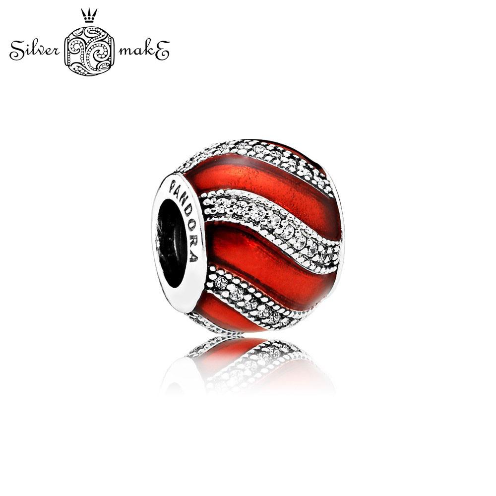 Шарм Бусина  Pandora, Красная эмаль