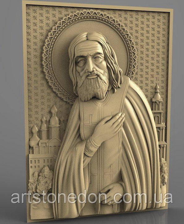 Икона резная Серафима Саровского №2