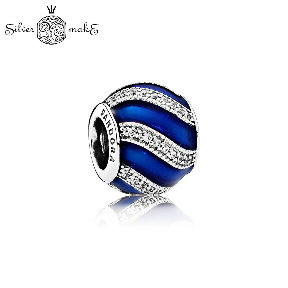 Бусина Пандора Серебряная Синяя эмаль