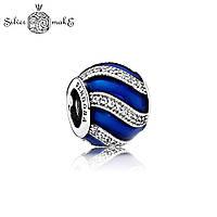 Бусина Пандора Серебряная Синяя эмаль, фото 1