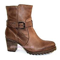 Кожаные  женские демисезонные ботинки на каблуке. В наличии 36-41 размеры