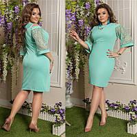 Нарядное женское платье из ткани креп дайвинг+французское кружево с люрексом, цвет мятный