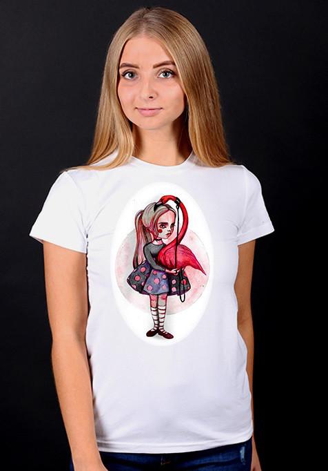 """Белая футболка женская с принтом """"Фламинго"""" спортивная хлопковая стильная летняя"""