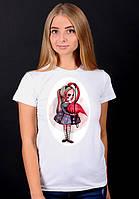 """Белая футболка женская с принтом""""Фламинго"""" спортивная хлопковая стильная летняя"""