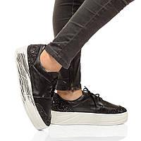 Туфли-мокасины из натуральной кожи на платформе, шнурки. Два цвета! Размеры 36-41, модель S1049