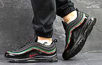 Молодежные кроссовки Nike Air Max 97, черные, с зеленой и красной полоской