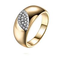 Позолоченное кольцо женское с цирконами код 1357 р 16 17 18 19 Код:651045296