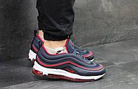 Стильные кроссовки Nike Airmax 97, мужские, синие с красным
