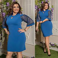 Нарядное женское платье из ткани креп дайвинг+французское кружево с люрексом, цвет джинсовый