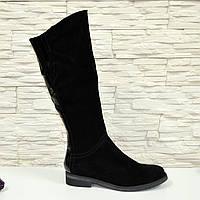 Сапоги черные женские демисезонные замшевые на невысоком каблуке. 39 размер