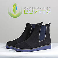 Жіноча демісезонна замшеве взуття на низькому ходу Наша версія 802 сін., фото 1