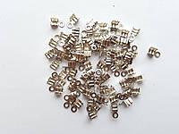 Зажимы концевики фурнитура для бижутерии 8 мм Серебряные 100 шт/уп