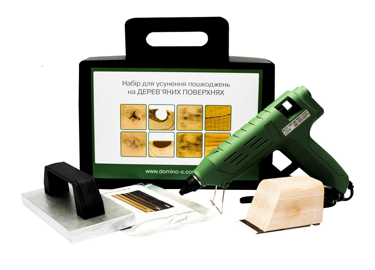 """Набор для устранения повреждений на деревянных поверхностях """"mini"""". Термошпакливка с инструментами."""