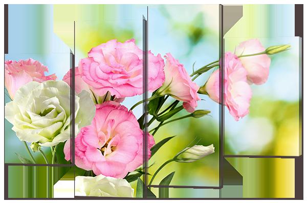 """Модульная картина """"Нежные цветы Эустомы"""""""