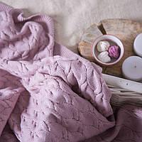 Вязаный плед, пудрово-розовый, 160*190