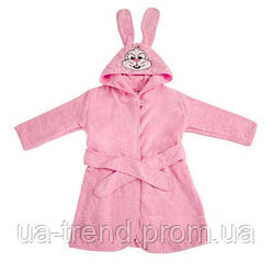 Детский махровый халат для девочки розового цвета 80-86 см